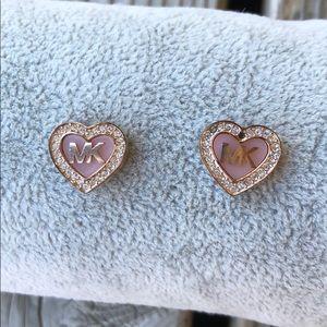 Stunning Michael Kors Rose Gold Heart Earrings!